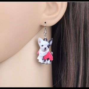 Adorable acrylic chihuahua dog earrings
